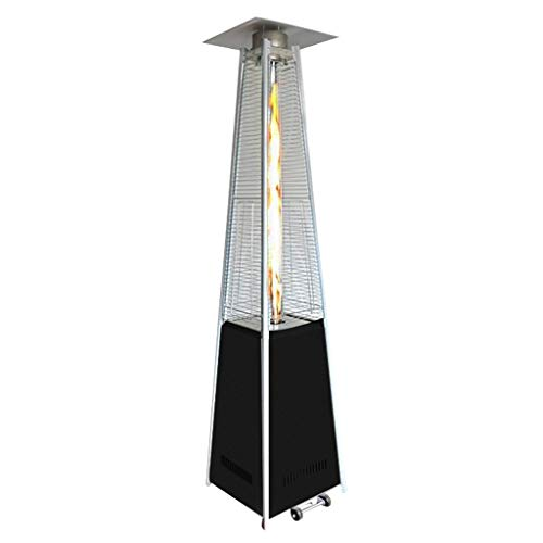FLAMY Outdoor Patio Gas Heater,Pyramid Style 13kw,Commercial Gas Heating Stove with Movable Wheels, Suitable for Outdoor, Garden, Living Room - Gold, Black, Stainless Steel