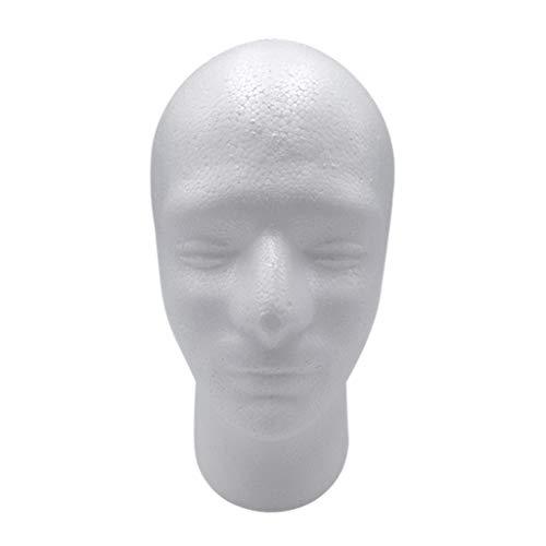 freneci Tête Masculine en Polystyrène pour Affichage Casque/Chapeau/Perruque/Lunettes, Hauteur 30 cm