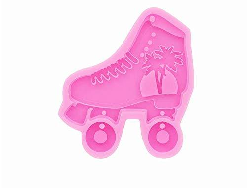 Rollschuhe Silikonform, Bastelform, Fondant-Kuchenformen, Harzschmuckform, Polymer Clay Formen, Ohrring Schlüsselbund Halskette Form, Pink