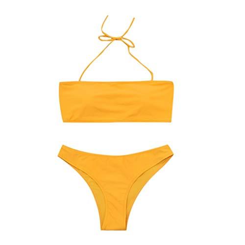 Aiserkly Traje de baño para mujer de color puro con tubo de dos piezas Amarillo amarillo M