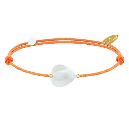 Les Poulettes Bijoux - Bracelet Lien Petit Coeur de Nacre et Perle Plaqué Or - Colors - Orange