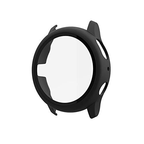 WSGGFA Cristal + funda para Samsung Galaxy Watch Active2 44 mm Cubierta de plástico parachoques + protector de pantalla Galaxy watch active 2 40 mm (color negro, diámetro de la esfera: 2 44 mm)