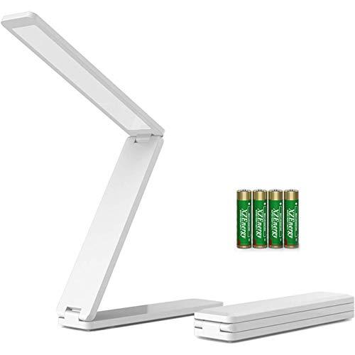 LED Tischlampe faltbar, Klappbare Tischlampe Mini Buchlampe Arbeitslampe AAA Skku Nachttisch Leselampe dimmbar USB Ladekabel Multifunktion Schreibtischlampe Faltlampe