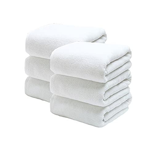 jinrun Toallas baño Toallas de baño de 6 Piezas 100% algodón Peinado Ultra Suave y Altamente Absorbente, Hotel y SPA Toallas de baño 27 x 55 Pulgadas (Blanco) Bath Sheet