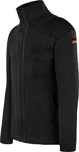 normani Bundeswehr Strickjacke aus Schurwolle mit Hoheitsabzeichen Deutschlandfahne BW Knitted Jumper Winterjacke nach TL Farbe Schwarz Größe 3XL