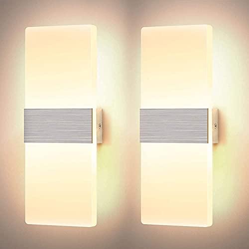 YANSW Lámpara de pared Aplique de pared Aplique de pared, juego de 2 LED para interiores, moderno, acrílico de 12 W, iluminación nocturna para dormitorio, sala de estar, pasillo, cálido