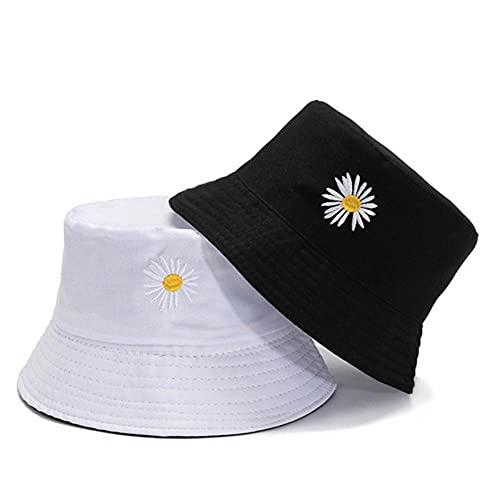 AOQW Secchiello di Fiori Reversibile Moda Donne Cappelli Ricamo Unisex Beach Sun Hat Panama cap Floral Men Caps Fisherman-1