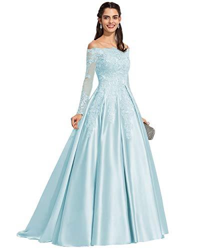 Light Blue Wedding Dress With a Train Off the Shoulder Light Blue