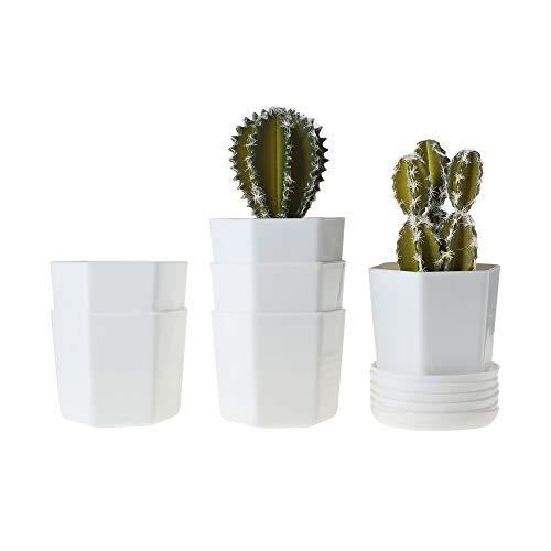 T4U 10CM Pot de Succulent en Plastique avec Plateau Blanc Lot de 6, Soucoupe Pot de Fleur Cactus Plante Planteur de Résine Petite Cache Pot Jardinière Décor de Maison Bureau Cadeau Mariage