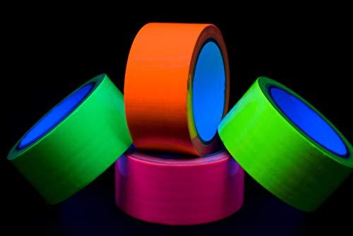 Neon Tape Klebeband Uv aktiv Schwarzlicht Set 4 Rollen je 50mm x 10m grün gelb pink orange