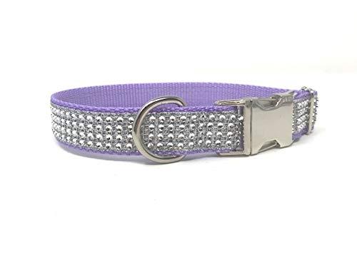 Big Pup Pet Fashion Purple, Lavender, Rhinestone Dog Collar, Girls, Female, Bling, Sparkly, Fancy, Designer, Glam (Small 3/4' W X 8-12', Lavender)