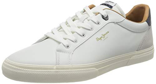 Pepe Jeans London Mens Kenton Classic Man Sneaker, 800WHITE, 45 EU
