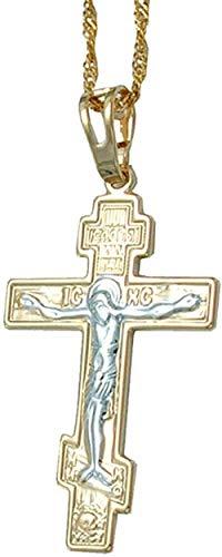 LBBYMX Co.,ltd Collar de Moda Dos Tonos Color Dorado Cristianismo ortodoxo Iglesia eterna Cruz Collares Pendientes Rusia Joyería Grecia Ucrania 45cm Cadena Fina