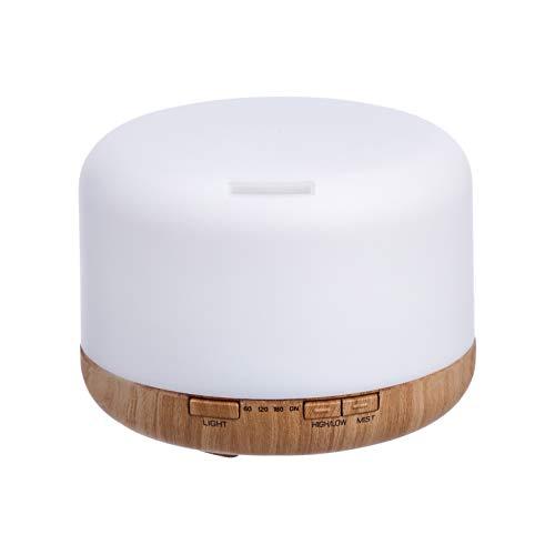 Amazon Basics Difusor de aceites esenciales para aromaterapia ultrasónico de 500ml, base con acabado de madera clásica, con temporizador y luz nocturna de 7 colores