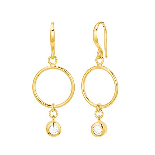 Amor - Pendientes para mujer, diseño de círculos, plata brillante 925 chapados en oro blanco