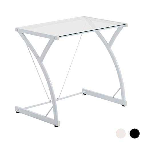 Mesa de trabajo con superficie de cristal - Ideal para el ordenador - Blanco ⭐