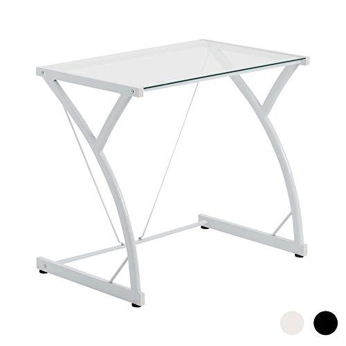 Mesa de trabajo con superficie de cristal - Ideal para el ordenador - Blanco