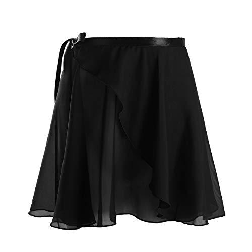 TiaoBug Damen Wickelrock Ballett Rock unregelmäßig Tanz Sport Gymnastik Mini Skater Rock Skirt aus Chiffon Dancewear Tanzrock Rosa Weiß rot schwarz Schwarz C One Size