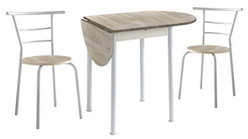 Miroytengo Lote Mesa 2 sillas Blanco Roble Cocina Extensible Pack Funcional melamina Metal