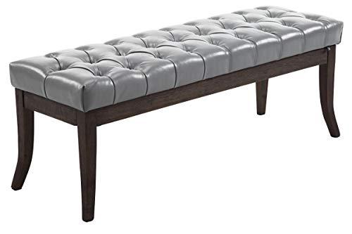 CLP Sitzbank Ramses Mit Polsterung Und Kunstlederbezug I Holzbank Mit 46 cm Sitzhöhe, Farbe:grau, Größe:120 cm