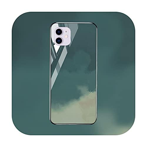 Funda de mármol para iPhone 12 Pro Max caso de vidrio templado iPhone 11 Pro Max parachoques Xs Max Xr Xs X 7 8 Plus 6 6s SE 2-M726-para iPhone 11Pro Max