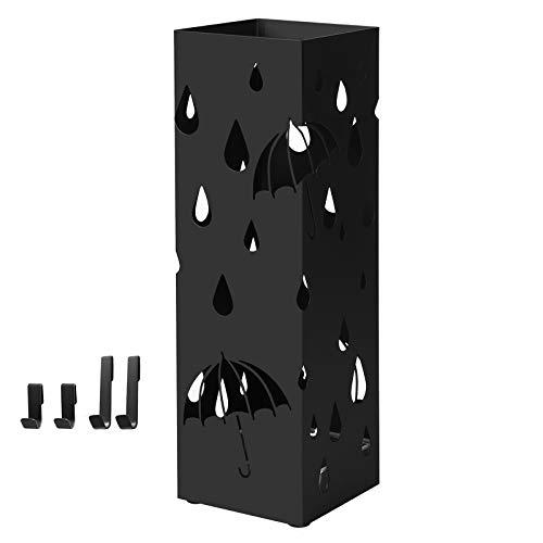 SONGMICS Porta Ombrelli in Metallo, Portaombrelli Quadrato, con Gancini e Vaschetta Scolapioggia Rimovibile, 15,5 x 15,5 x 49 cm, Nero LUC49B