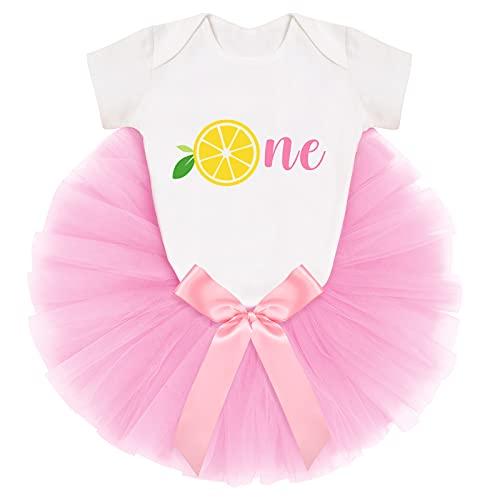 IBAKOM - Conjunto de falda y camiseta de fruta impresa + falda tutú + diadema para nacimiento de ropa rosa 2 9-12 Meses