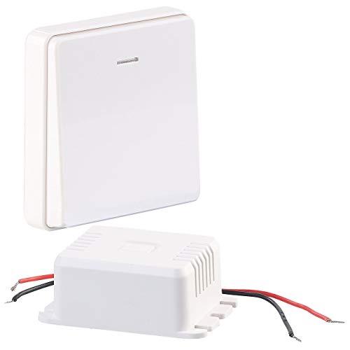 CASAcontrol Funktaster: Einbau-Funk-Schaltmodul & kinetischer Funk-Taster (groß), bis 200 Watt (Funkschalter Set)