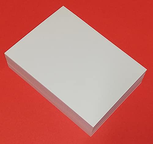 200 hojas de papel FSC blanco de 120 g en formato A6 de 10,5 x 14,5 cm. Para impresión láser y de inyección de tinta a doble cara y trasera.