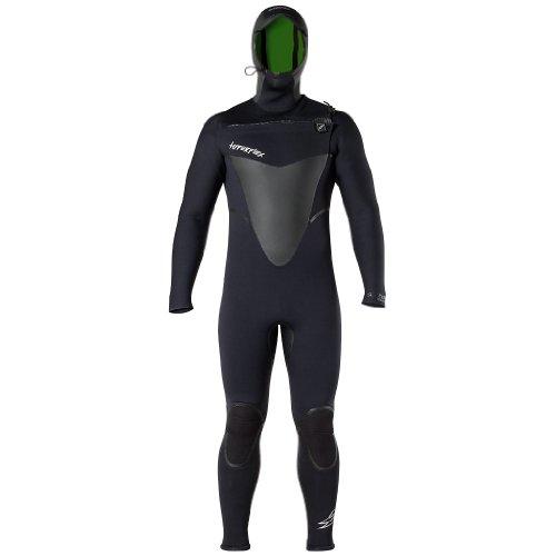 Hyperflex Wetsuits Hombres del vudú 5/4/3mm con Capucha y Cremallera en la Parte Frontal Traje, Hombre, Negro