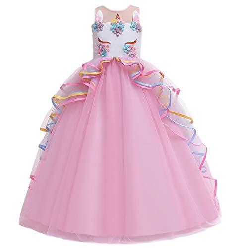 FMYFWY Niña Vestido de Unicornio Princesa Cumpleaños Sin Mangas Disfraz de Carnaval Halloween Navidad Fiesta de Cosplay para Chicas Bautizo Comunión Boda Velada Ropa 4-15 años