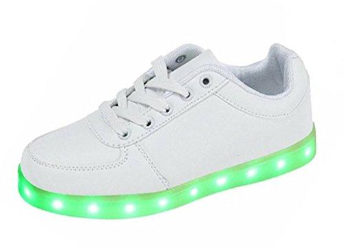 Advogue Damen Herren 7 Farbe USB Aufladen LED Schuhe Sportschuhe LED Licht Farbwechsel Mode Sneaker