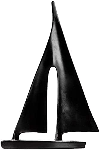 Work of Art Modelo de velero informal escultura ornamento Resina Moderno Escritorio Hogar Oficina Sala Estudio Gabinete de vino Escritorio HAODAMAI (Color: Negro, Tamaño: 14 x 4 x 21 cm)