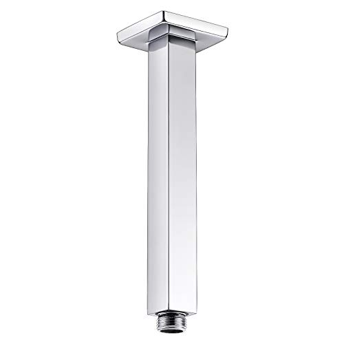 Anpean 8 Inch Square Ceiling Mounted Shower Arm and Flange, Polished Chrome