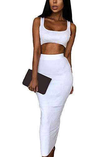 Velius Women's Scoop Neck Neon Bodycon Two Piece Pencil Maxi Dress Clubwear Outfits (White, Small)
