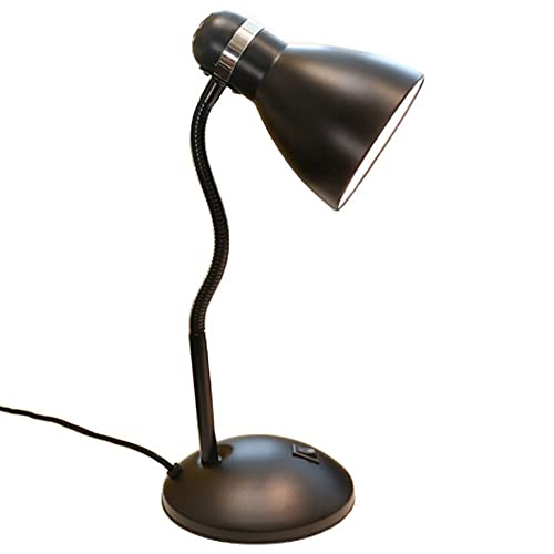 Lámparas de mesa ajustables de cuello de cisne, lámpara de mesa de simplicidad, lámpara de escritorio de noche de dormitorio portátil, bombilla LED de luz blanca E27 9W, hierro labrado Casa Luz suave