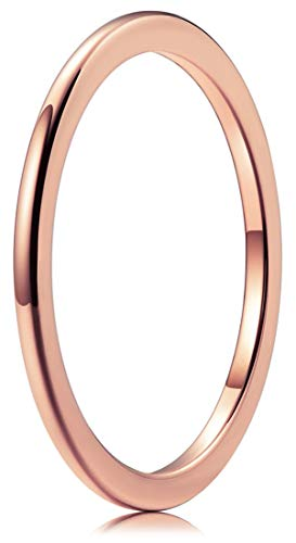 THREE KEYS JEWELRY Rose Gold Tungsten Carbide Womens 1mm Wedding Band Ring Polish for Women Engrave Engagement size 7
