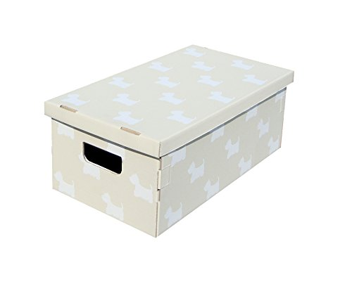 Kanguru UnDueTre Set 3 Scatole Portatutto In Cartone, Beige/Bianco, 29 x 51 x 20 cm
