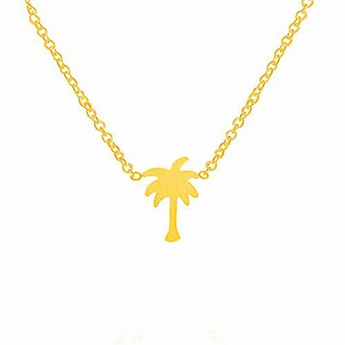 Toporchid - Collar con colgante de árbol de coco para mujer The necklace is about 46.5cm long Golden