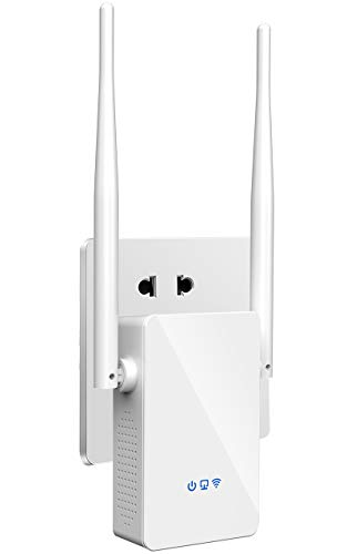 WiFi Repeater-WiFi Range Extender Booster, AC1200 Dual Band High Speed up to 1200Mbps, 360° Wide Coverage Eliminate WiFi Dead Zones, Support WPS One Button Setup with 2 External Antennas