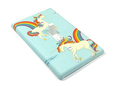 Blue Unicorn and Rainbows Light Switch Cover Plate