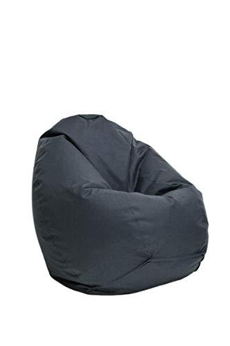 Bruni Sitzsack Classico M in Grau – Sitzsack mit Innensack zum Zocken & Lesen, Abnehmbarer Bezug, lebensmittelechte EPS-Perlen als Bean-Bag-Füllung, Sitzsack grau aus Deutschland