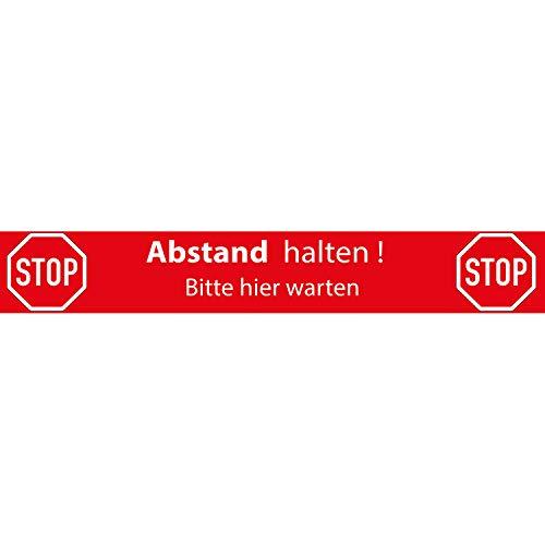 Fußboden-Aufkleber Hinweis Warnhinweis - Stop Abstand halten. Bitte Hier warten. - 70x10 cm R9 rutschhemmend Zertifiziert - Bodenmarkierung als Schutzmaßnahme