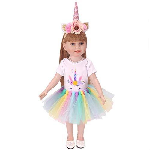 yeesn Dolls Unicorn Clothes, diadema, tut se adapta a muecas American Girls de 18 pulgadas (B)