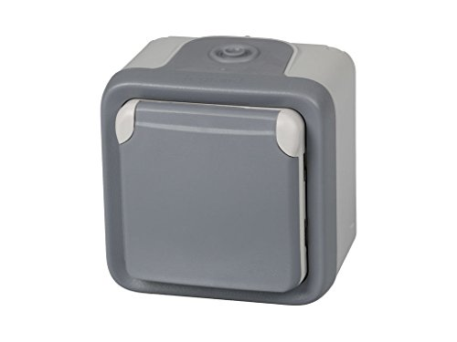 legrand 191504 Base De Enchufe Estanca Con Tapa Para Superficie, Gris