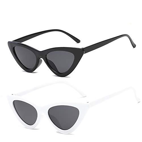 YOSHYA Retro Vintage Narrow Cat Eye Sunglasses for Women Clout Goggles Plastic Frame (Black Grey + White Grey)