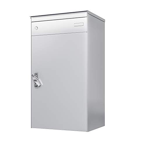 sbox 17 Briefkasten, Briefkasten mit gesichertem Paketschliessfach, einfache Selbstmontage, Hochwertiges Aluminium, 440x800x340mm, Handgefertigt (Weissaluminium (RAL 9006))