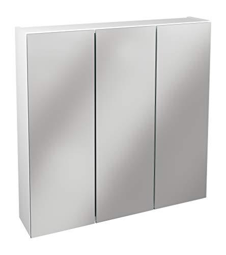 Lanzet Spiegelschrank L0 / Badezimmerschrank mit Spiegel/Maße (B x H x T): ca. 70 x 68 x 14,5 cm/Möbel fürs Bad oder WC/hochwertiger Schrank mit 3 Türen/Korpus: Weiß Glanz/Front: Spiegel