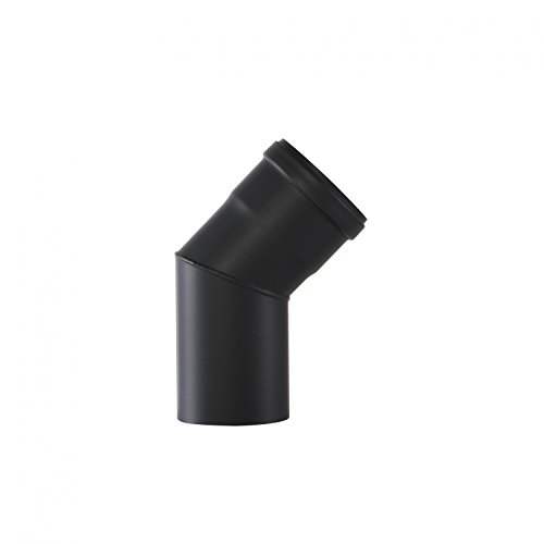 Ofenrohr Rosette Bogen Rohrhalter Kaminzubehör schwarz & grau versch. Größen, Farbe:schwarz, Bauteil:Bogen 45°Ø 80 mm