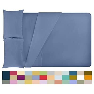 LuxClub 4 PC Microfiber and Bamboo Sheet Set: Bamboo Bedding Sheets with Microfiber - Softer and More Breathable Than Cotton - Antibacterial and Hypoallergenic - Machine Washable, Oxford, Queen